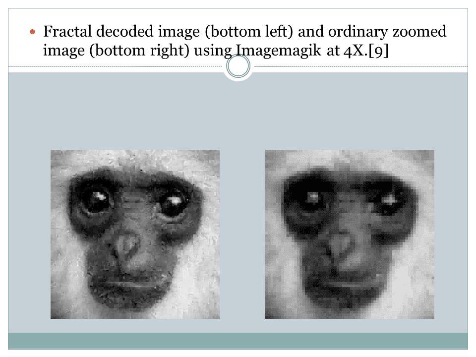 Fractal decoded image (bottom left) and ordinary zoomed image (bottom right) using Imagemagik at 4X.[9]